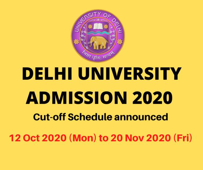 DU ADMISSION 2020 CUT OFF SCHEDULE