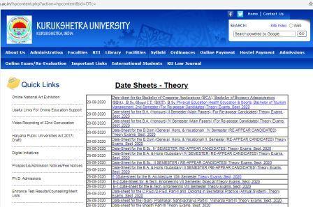 Kurukshetra University date sheet final year exam