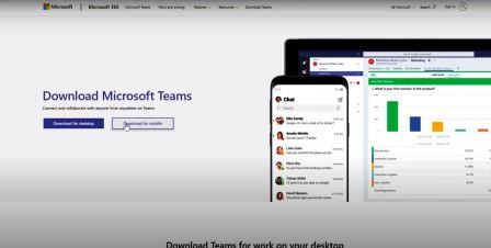 Microsoft teams download options