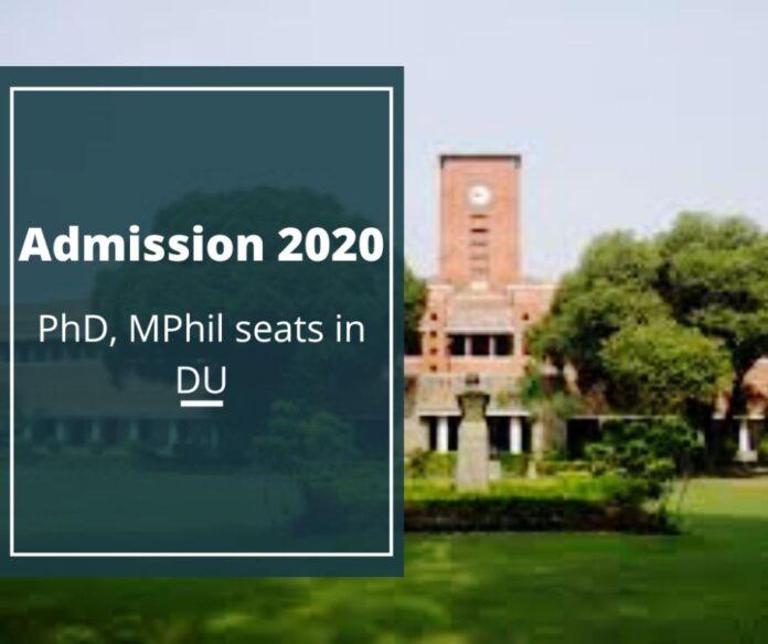 Admission 2020: PhD, MPhil seats in DU