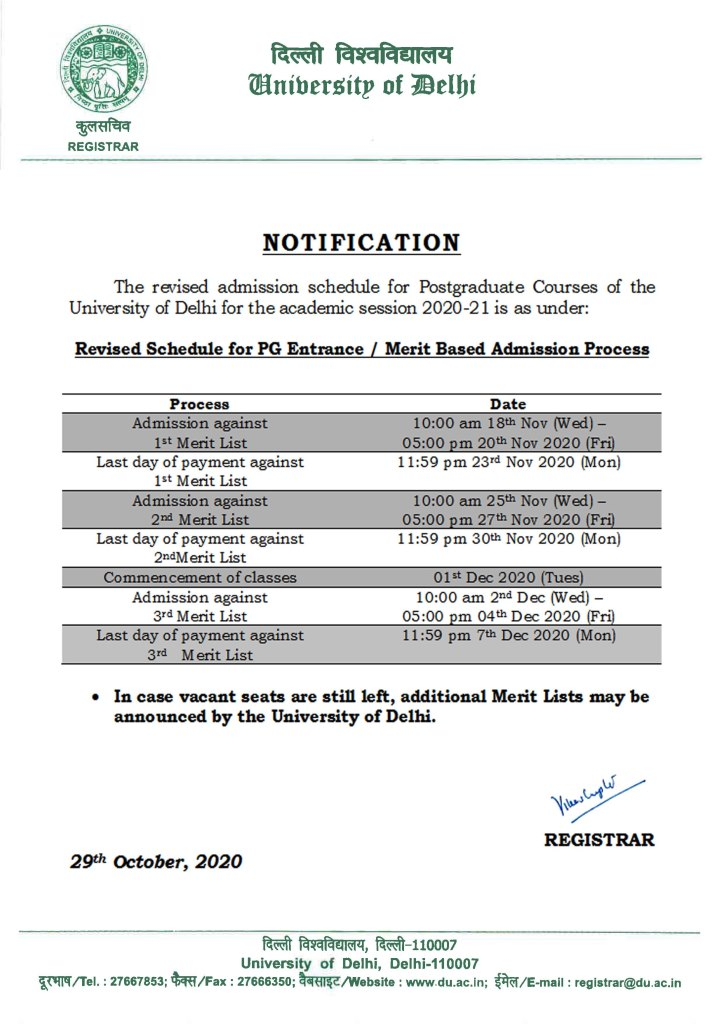 Notification - Revised Admission Schedule for PG Courses (Entrance / Merit Based)