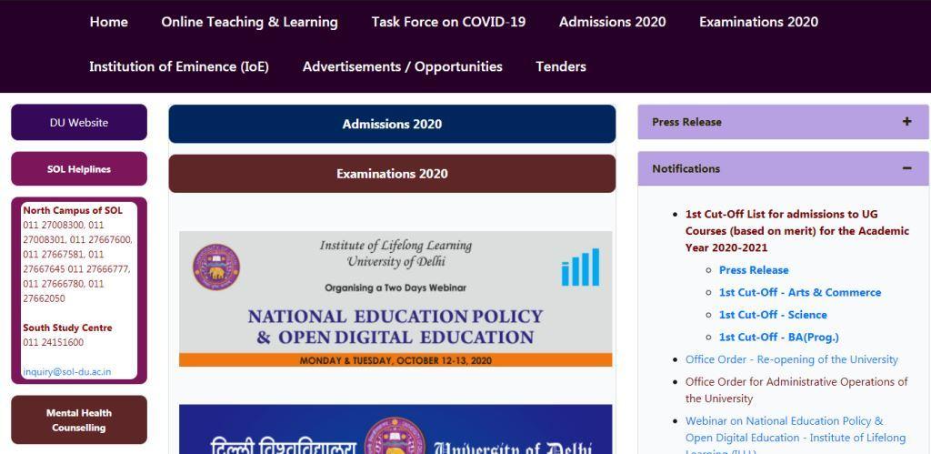 DU WEBISTE FOR FIRST CUT OFF LIST ADMISSION 2020