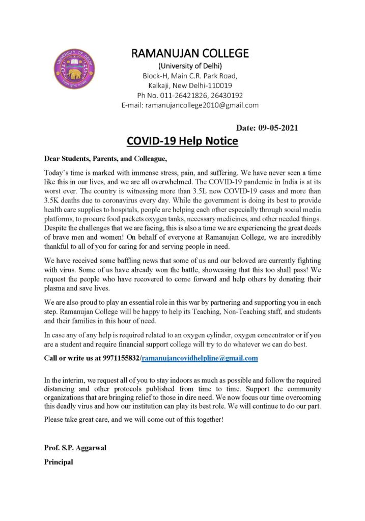 ramanujan college covid notice