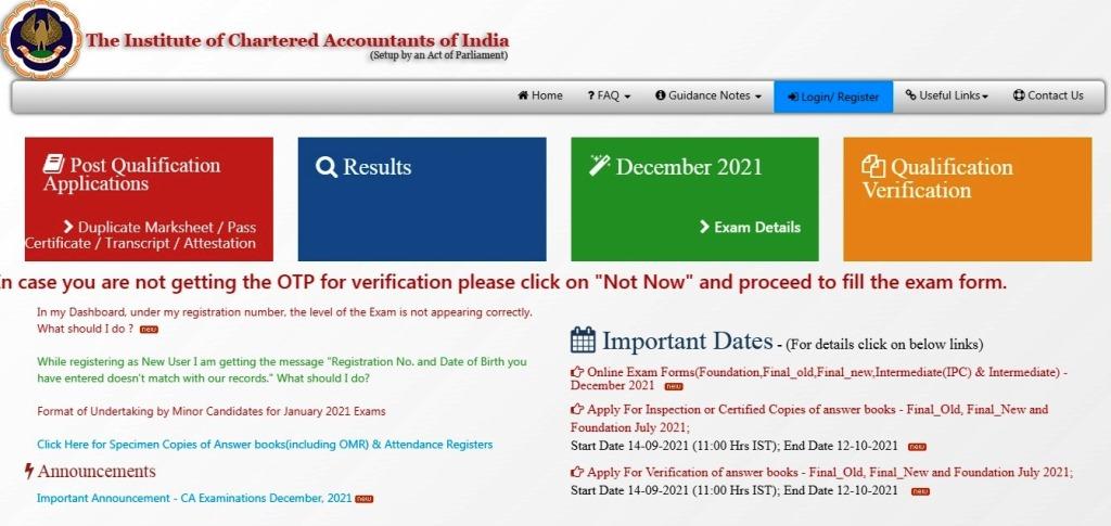 CA Exam registration 2021   CA Foundation   CA December Exam